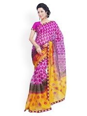 Riti Riwaz Purple Super Net Printed Saree
