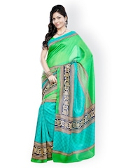 Green & Turquoise Blue Bhagalpuri Silk Printed Saree Riti Riwaz