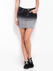 Roadster Charcoal Grey Ombre Denim Mini Skirt