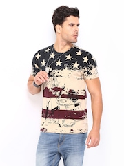 Roadster Men Beige Printed T-shirt