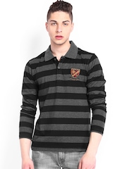 Roadster Men Black & Charcoal Grey Melange Striped Polo T-shirt