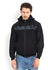 Roadster Men Black & Dark Grey Hooded Jacket