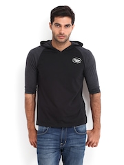 Roadster Men Black & Grey Melange Hooded T-shirt