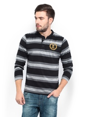 Men Black & Grey Striped Henley T-shirt Roadster