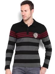 Roadster Men Black & Grey Striped Polo T-shirt