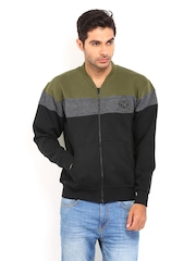 Roadster Men Black & Olive Green Sweatshirt