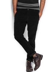 Roadster Men Black Bloch Torino Slim Fit Corduroy Trousers