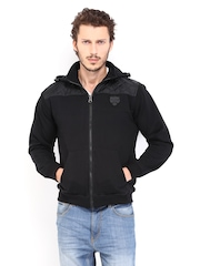 Roadster Men Black Hooded Jacket
