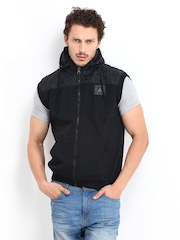 Roadster Men Black Hooded Sleeveless Jacket