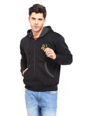 Roadster Men Black Hooded Sweatshirt