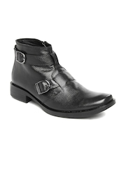 Roadster Men Black Leather Boots