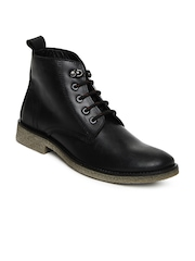Roadster Men Black Leather Boots