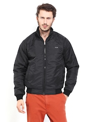 Roadster Men Black Padded Slim Fit Jacket