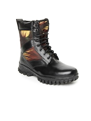 Roadster Men Black Printed Leather Boots