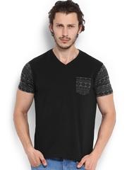 Roadster Men Black Printed T-shirt