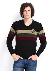Roadster Men Black Striped Sweater