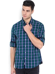 Roadster Men Blue & Green Checked Shelby Slim Fit Casual Shirt