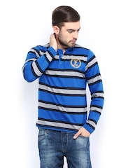 Men Blue & Grey Striped Henley T-shirt Roadster