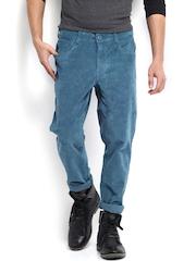Roadster Men Blue Barry Torino Slim Fit Corduroy Trousers