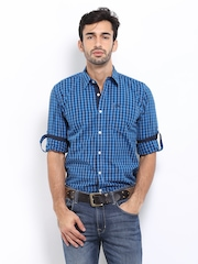 Roadster Men Blue Checked Slim Fit Casual Shirt