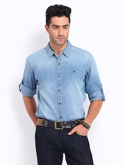 Roadster Men Blue Denim Alonso Shelby Slim Fit Casual Shirt