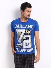 Roadster Men Blue Oakland Printed T-Shirt