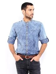 Roadster Men Blue Romain Shelby Slim Fit Denim Casual Shirt