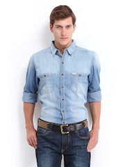 Roadster Men Blue Shelby Slim Fit Denim Casual Shirt