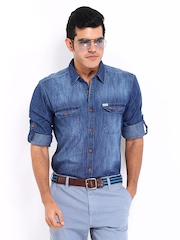 Roadster Men Blue Sutil Slim Fit Denim Casual Shirt