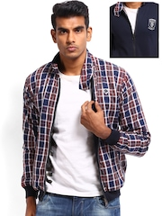 Roadster Men Brown & Navy Checked Reversible Jacket