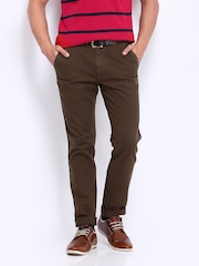 Roadster Men Brown Brent Slim Fit Chino Trousers