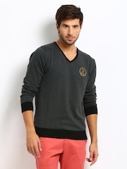Roadster Men Charcoal Grey Royal Sweater