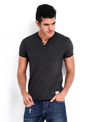 Roadster Men Charcoal Grey T-shirt
