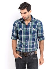 Roadster Men Green & Blue Checked Shelby Slim Fit Casual Shirt