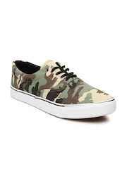 Roadster Men Green & Brown Camouflage Print Canvas Shoes