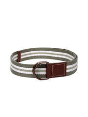 Roadster Men Green & White Striped Belt