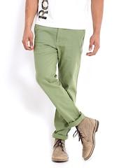 Roadster Men Green Torino Slim Fit Chino Trousers