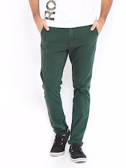 Roadster Men Green Torino Slim Fit Chino Trousers