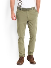 Roadster Men Green Torino Slim Fit Trousers