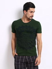 Roadster Men Green Utah Salt Printed T-Shirt