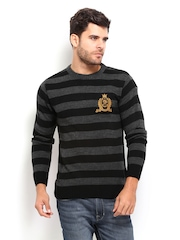 Roadster Men Grey & Black Striped Sweater