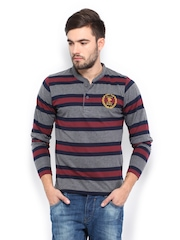 Men Grey & Maroon Striped Henley T-shirt Roadster