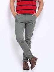 Roadster Men Grey Curton Torino Slim Fit Chino Trousers
