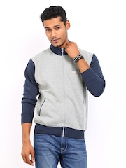 Roadster Men Grey Melange & Navy Sweatshirt