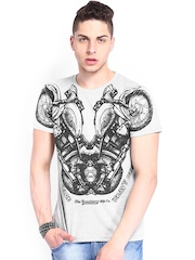 Roadster Men Grey Melange Bike Printed T-shirt