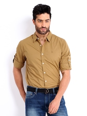 Roadster Men Khaki Alonso Slim Fit Casual Shirt