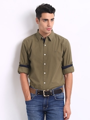 Roadster Men Khaki Alonso Shelby Slim Fit Casual Shirt
