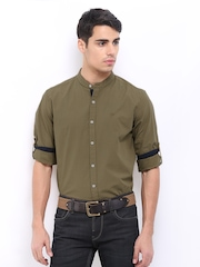 Roadster Men Khaki Romain Slim Fit Casual Shirt