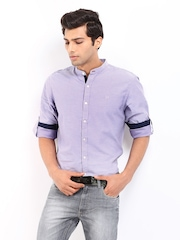 Roadster Men Lavender Romain Shelby Slim Fit Casual Shirt