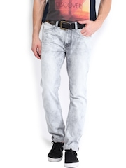 Roadster Men Light Grey Corvette Slim Fit Jeans